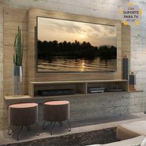 """Painel TV 60"""" com Suporte e Nichos Tókio Multimóveis Rustic -"""