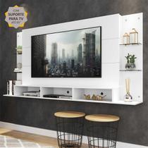 "Painel TV 65"" c/ suporte e prat. vidro Nairóbi Multimóveis -"