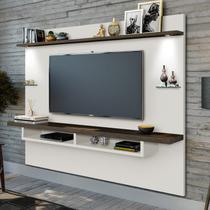 Painel TV até 60 Polegadas Iluminação LED 2 Prateleiras Vidro Victória Carmolar Off White/Nogal -