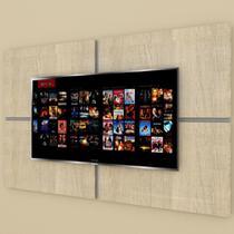 Painel Tv pequeno moderno amadeirado claro com cinza - E-Nichos