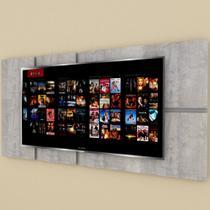 Painel Tv pequeno moderno rustico com cinza - E-Nichos