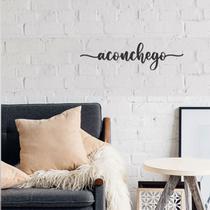 Palavra Aconchego Lettering Em Mdf Apliques De Parede Preto Casa Decoração Sala Quarto - Mongarte decor