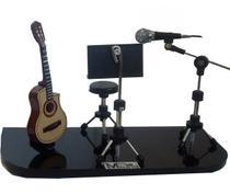 Palco miniatura violão estante e banco - Lojaloucospormusica
