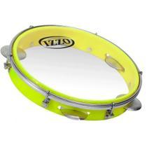 Pandeiro 10 Pol Abs Amarelo Neon C/pele Transparente Izzo -