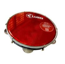 Pandeiro 10 Polegadas Pele Holográfica Vermelho  Corpo Preto 40064 PT VM Luen -