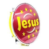 Pandeiro Amarelo 10 Pol Jesus Pele Holográfica Abs Luen -