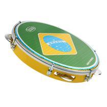 Pandeiro amarelo izzo 10 pol abs c/pele bandeira brasil 3438 -