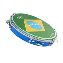 Pandeiro azul izzo 10 pol abs c/pele bandeira brasil 3438 -