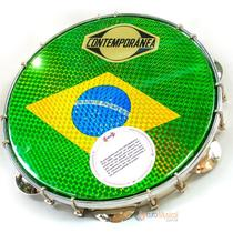 Pandeiro Contemporanea 10'' Tarraxa dupla Bandeira Brasil -