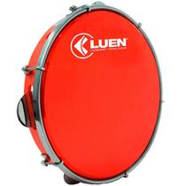"""Pandeiro Luen 10"""" ABS com Pele Holográfica Vermelho - Luen Percussion"""