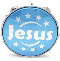 Pandeiro Luen 10 ABS Jesus Azul Pele Holográfica -