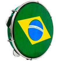 "Pandeiro Luen 10"" ABS Verde com Pele Brasil - Luen Percussion"