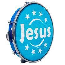 "Pandeiro Luen 10"" Aro ABS Azul com Pele Jesus - Luen Percussion"