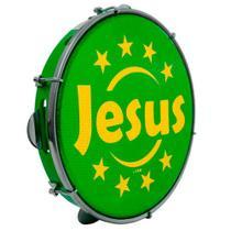 """Pandeiro Luen 10"""" Aro ABS Verde com Pele Jesus - Luen Percussion"""