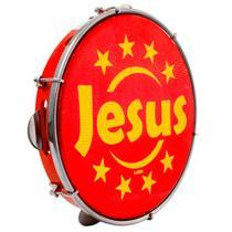 """Pandeiro Luen 10"""" Aro ABS Vermelho com Pele Jesus - Luen Percussion"""