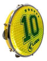 Pandeiro Luen 10 Aro Pele Holografica Amarelo Camisa 10 Abs -