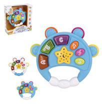 Pandeiro musical infantil baby magico colors com luz a pilha na caixa wellkids - Well Kids