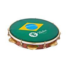 """Pandeiro Timbra 10"""" Formica Aro Dourado Pele Brasil com Capa -"""