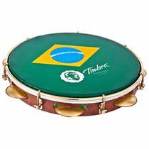 Pandeiro Timbra 10 Profissional Formica Pele Brasil + Capa -