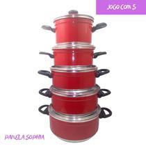 Panela Aluminio Colorido Vermelho Jogo com 5 Peças - Tenesin