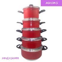 Panela Aluminio Jogo 5 Peças Colorido Vermelho Caçarola - Tenesin