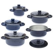 Panela Alumínio Jogo com 5 peças Preto Pintadinho - Tenesin