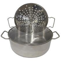 Panela Cozimento a Vapor peixes legumes Espagueteira aço inox 7 litros tampa de vidro - Ab Midia