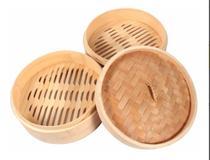 Panela De Bambú vaporeira cesto para cozimento a vapor legumes vegetais peixe 22 cm - Shin