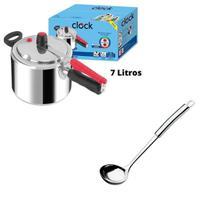 Panela De Pressão Clock Polida 7 Litros + Concha Inox 28Cm KIT Resistente Qualidade Original Segura -