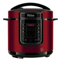 Panela de Pressão Elétrica Inox Philco 6 Litros - Painel Digital com Timer e 14 Funções - 1000W - Vermelho - PPPV01 -
