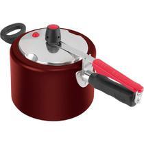 Panela de Pressão Revestida com Tampa Polida 4,5 litros Vermelha - Clock -