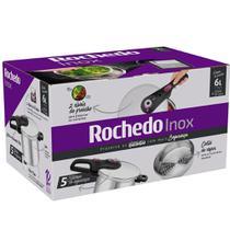 Panela de Pressão Rochedo Aço Inox com Cesta Inox 6 Litros -