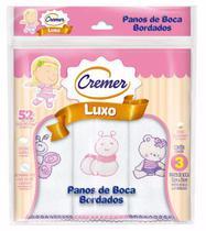 Pano De Boca Cremer Menina Luxo Bordado C/3 Und -