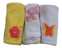 Pano de Boca para Bebê (3 unidades) Borboletas - Colo de Mãe -
