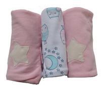 Pano de Boca para Bebê (3 unidades) Corujinhas Soninho - Colo de Mãe -