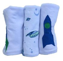 Pano de Boca para Bebê (3 unidades) Foguete - Colo de Mãe -