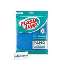 PANO ESPONJA FLASH LIMP ULTRA ABSORVENTE 17,5x19,5cm LIMPA E ENXUGA - FLASHLIMP