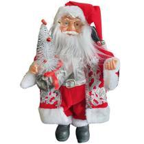 Papai Noel c/ Musica e Movimento 40cm c/ árvore - Vermelho - Zona Livre