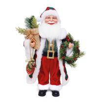 Papai Noel Cromus Roupa Vermelha com Guirlanda 45cm -