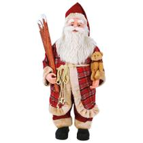 Papai noel de casaco xadrez e esquis 64cm 16662 - magizi -