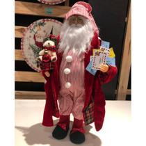 Papai Noel de Pijama Listrado Cartas 41 cm Decoracao Natalina Boneco Enfeite de Natal Presente - Magizi