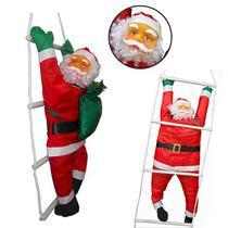 Papai Noel Subindo Escada Natal Decoracao Grande 58cm Altura Natalino (BSL-36041-11) - Braslu