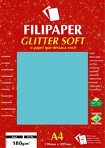 Papel A4 Color Glitter Soft Azul 180G. Filipaper Cx.C/15