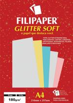 Papel A4 Color Glitter Soft Prata 180G. Filipaper Cx.C/15
