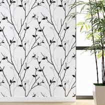 Papel de parede adesivo branco com folhas folhagem preto cinza para sala quarto loja hall 10 mts - Toque Pop