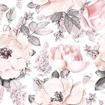 Papel de Parede Adesivo Floral Rosa Pastel 2,70x0,57m - Quartinhos