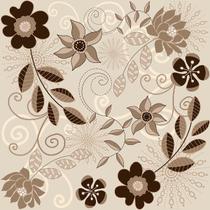 Papel de parede Autoadesivo Floral Bege e Marrom 45CM X 10M - Contact