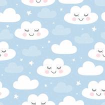 Papel De Parede Bebê Infantil Nuvem Chuva Nuvens Azul N4780 - Lar Adesivos