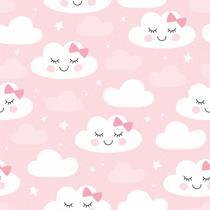 Papel De Parede Bebê Infantil Nuvem Chuva Nuvens Rosa N4779 - Lar Adesivos