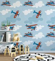 Papel De parede Com Céu De Fundo Avião Infantil Azul Branco + Kit Aplicação Completo - Papel E Parede